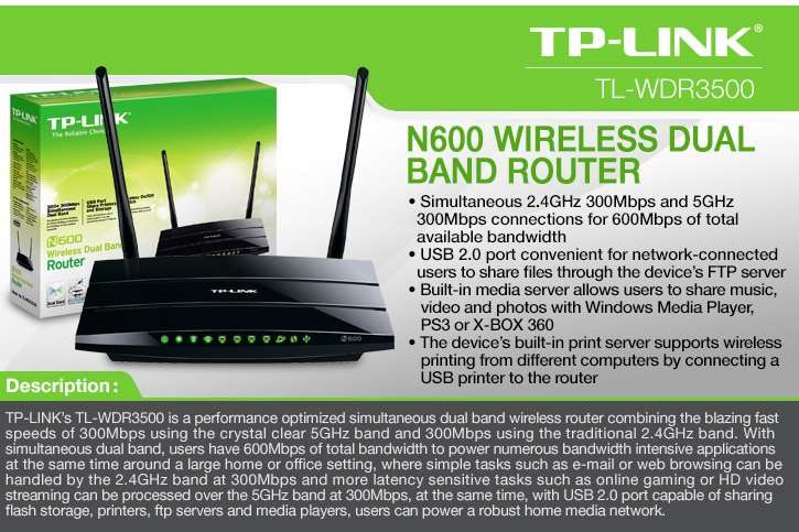 TP-Link N600 TL-WDR3500 Dual Band Wireless Router 802 11A/B