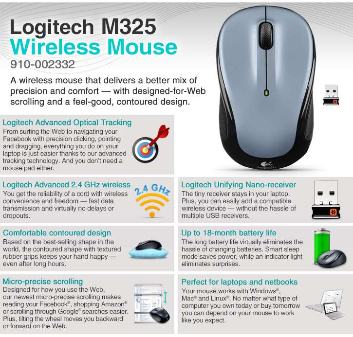 f5504c10d8a Logitech 910-002332 M325 Wireless Mouse - 2.4GHz, Optical Tracking,  Unifying Receiver, Tilt Wheel, On/Off Switch, Silver: 910-002332 at BEST  PRICE