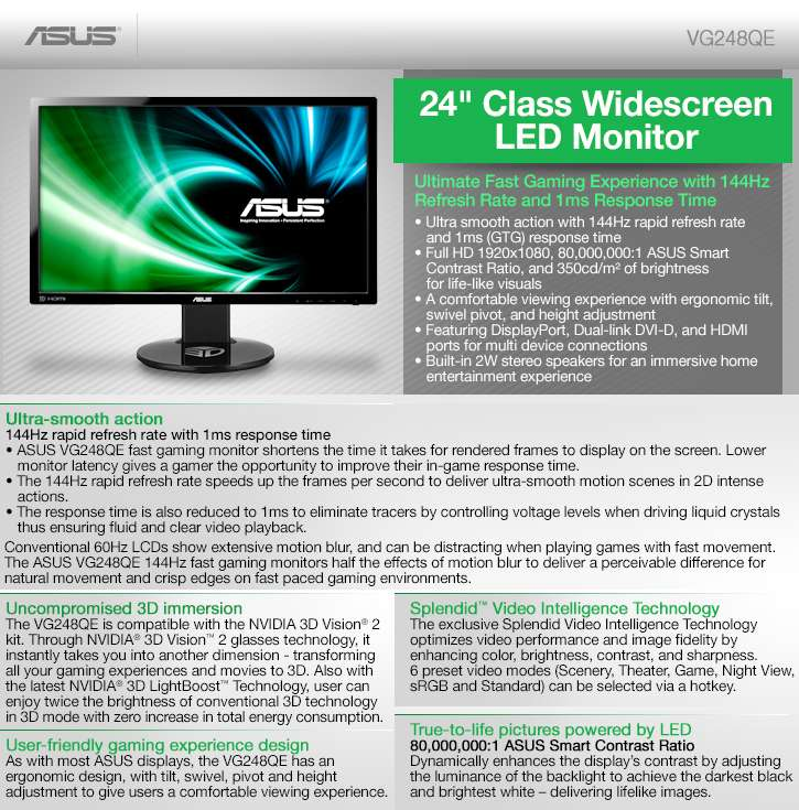 ASUS VG248QE 24IN Widescreen LED Backlit LCD Monitor