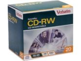 Verbatim DataLifePlus CD-RW 2X-4X 74 Min/650MB 20 Pack In Slim Cases (Verbatim: 94793)
