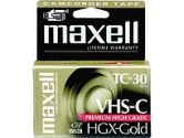 Maxell HGX-TC30 Gold 30 Minutes VHS-C High Grade Video Cassette (Maxell: 203010)