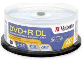 Verbatim 8.5GB Dual Layer DVD+R 2.4X 20 Disc Spindle (Verbatim: 95310)