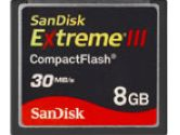 SanDisk Compact Flash Extreme III 8GB - 30MB/s (SanDisk: SDCFX3-008G-A31 / SDCFX3-008G-E31)