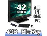 Allio 42 HDTV All-In-One Media Center PC - Intel Core 2 Duo E8400, 4GB DDR2-800, 1TB SATA II, Blu-Ray Player/DVDRW, Wireless LAN, HDMI, 1080p, 2000:1, PVR Ready, Speakers, Vista Home Premium 64-bit (Visionman: ATVI-3G4542)