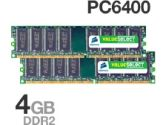 Corsair VS4GBKIT800D2 PC2-6400 4GB 2X2GB DDR2-800 240PIN DIMM Dual Channel Memory Kit (Corsair: VS4GBKIT800D2)