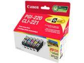 PGI220BK/CLI221 4CLRS 4X6 20SH (Canon: 2945B007)