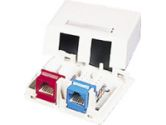 KEYSTONE JACK SURFACE MOUNT BOX 2-PORT IVORY (Cables To Go: 03832)