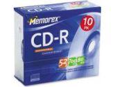 10PK SLIM MEMOREX CD-R80 (Imation Corp.: 32024514CP6)
