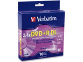 DVD+R DL 8.5GB 2.4X - 6X BR,ED SURFACE (Verbatim Corporation, Inc: 95166-10X10PK)