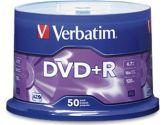 Verbatim  DVD+R 4.7 GB 16x - cakebox - storage media (Verbatim Corporation, Inc: 95037-6X50PK)
