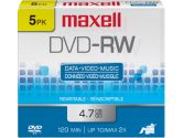 QTY 5: DVD-RW 2X 4.7GB J-CASE 5X1PK (Maxell: 635114-5X1PK)