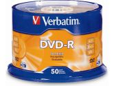 Verbatim DVD-R 16X 4.7GB 50 Disc Spindle Branded with Cake Box (Verbatim: 95101)
