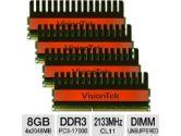 VisionTek 900498 Desktop Memory Kit - 8GB , PC3-17000, DDR3-2133MHz, 240-pin DIMM, 1.65V, CL11, Non-ECC, Unbuffered (VisionTek: 900498)
