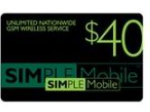 Simple Mobile Unlimited Nationwide Talk & Text and 3G web $40 plan  $40 Re-Up Value (Simple Mobile: $40 Re-Up Value)