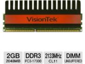 VisionTek 900496 Desktop Memory Module - 2GB, PC3-17000, DDR3-2133MHz, 240-pin DIMM, 1.65V, CL11, Non-ECC, Unbuffered (VisionTek: 900496)