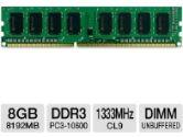 Centon R1333PC8192 Desktop Memory Module - 8GB, PC3-10600, DDR3-1333MHz, 240-pin DIMM, 1.5V, CL9, Non-ECC, Unbuffered (Centon: R1333PC8192)