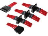 Bitfenix Alchemy Premium Sleeved 4PIN Male Molex to 4X SATA Power Cable Red 20CM (BitFenix: BFA-MSC-M4SA20RK-RP)