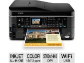 Epson WorkForce 645 Wireless All-In-One Color Inkjet Printer - Copy, Scan, Fax, Up to 15ppm mono; 7.2ppm color;  5760 x 1440 dpi; Auto Document Feeder, Borderless Prints (Epson Canada: C11CB86201)