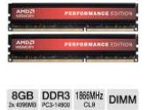 AMD Performance Edition AP38G1869U2K-1 8GB Desktop Memory Module Kit - DDR3, 2x4GB, CL9, 1866MHz, 240 Pin, PC3-14900, 1.5V (VisionTek: AP38G1869U2K-1)