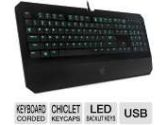 Razer RZ03-00800100-R3U1 DeathStalker Expert Gaming Keyboard - USB, Chiclet Keycaps, LED Backlit Keys, Built-in Wrist Rest (Razer: RZ03-00800100-R3U1)