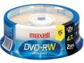 MAXELL DVD-RW 4.7GB 2X 15 SPINDLE (Maxell: 635117)