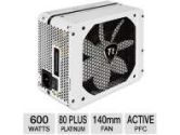 Thermaltake Toughpower Grand 600W Power Supply - 80 Plus Platinum Certified, 105°C Japanese Capacitors, Single 12V Rail, 140mm Fan, Supports AMD & Intel (ThermalTake: TPG-600M)