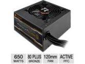 Thermaltake SMART 650W SP-650P Power Supply - 650Watt, 120mm Fan, 80 PLUS Bronze, Active PFC (ThermalTake: SP-650P)