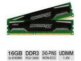 Crucial Ballistix Sport 16GB Memory Module Kit - DDR3, 2 x 8GB, 1600 MT/s, PC3-12800, CL9, 1.5V, UDIMM, 240 Pin (Crucial: BLS2KIT8G3D1609DS1S0)