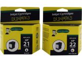 For Dummies HP 21/22 Black & Tri-color Combo Inkjet Cartridge C9509FN Remanufactured (For Dummies: DH-21/22(2PK))