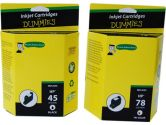 For Dummies HP 45/78d Black & Tri-Color Combo Inkjet Cartridge C8788FN Remanufactured (For Dummies: DH-45/78(2PK))