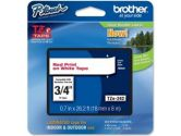 Brohter 18MM Red On White Tape for P-TOUCH (Brother Printer Supplies: TZE242)