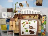 Soho Forest Playground Baby Crib Nursery Bedding Set 13 pcs included Diaper Bag with Changing Pad & Bottle Case (SoHo Designs: 048107049850)