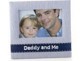 Mud Pie Baby Lil' Buddy Navy Blue Seersucker Fabric Photo Frame, Daddy and Me (Mud Pie: 718540089644)