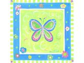 The Kids Room Butterfly with Blue and Green Border Square Wall Plaque (The Kids Room by Stupell: 049182010698)