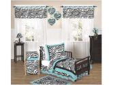 Turquoise Funky Zebra Toddler Bedding 5 pc set by Sweet Jojo Designs (Sweet Jojo Designs: 846480006435)