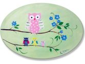 The Kids Room Owls on Braches Green Oval Wall Plaque (The Kids Room by Stupell: 049182010667)