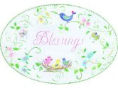 The Kids Room Oval Wall Plaque, Blessings Birds Floral (The Kids Room by Stupell: 049182010902)