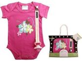 Baby Dry Goods 020-11 Onesie-Pacifier Clip Boxed Set- butterfly-hibiscus (Baby Dry Goods: 794504102512)