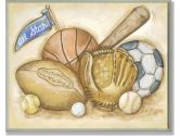 The Kids Room All Star Multi Sport Rectangle Wall Plaque (The Kids Room by Stupell: 049182009500)