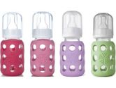 Lifefactory Glass Baby Bottles 4 Pack (4 oz. in Girl Colors) (Lifefactory: 797734384338)