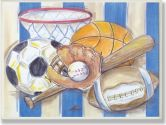 The Kids Room Sports with Blue and White Stripes Rectangle Wall Plaque (The Kids Room by Stupell: 049182005311)