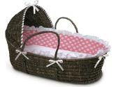 Badger Basket Moses Basket with Polka Dot Hood and Bedding, Espresso/Pink (Badger Basket: 046605129647)