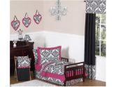 Hot Pink, Black and White Isabella Girls Toddler Bedding by Sweet Jojo Designs 5pc Set (Sweet Jojo Designs: 846480012610)