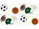 Play Ball Sports Wall Decal Stickers by Sweet Jojo Designs - Set of 4 Sheets (Sweet Jojo Designs: 846480010111)