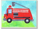 The Kids Room Fire Truck with Bucket Wall Plaque (The Kids Room by Stupell: 049182012616)