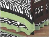 Lime Funky Zebra Bed Skirt for Toddler Bedding Sets by Sweet Jojo Designs (Sweet Jojo Designs: 846480006664)