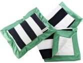 Oliver B Stroller Blanket and Pillow Set, White/Navy/Kelly Green (Oliver B: 851447003044)