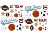 All Star Sports Wall Decal Stickers by Sweet Jojo Designs - Set of 4 Sheets (Sweet Jojo Designs: 846480009474)
