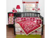 Damask Fuchsia 3 Piece Crib Set (Bananafish: 883643106632)