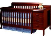 AFG Athena Kimberly 3 in 1 Convertible Crib and Changer Combo with Toddler Rail - Cherry - 516C (AFG: 879065003468)